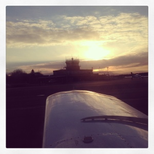 After a late lunch at KEWB's Airport Grille, a quick picture of the tower & sunset prior to  my last flight of 2013.