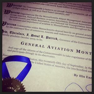 Gov. patrick declared October General Aviation Month in Massachusetts with a proclamation presented at the 2013 MAMA Conference
