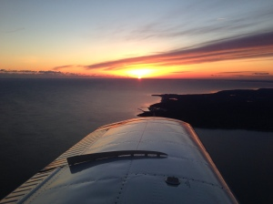 "The first sunrise of 2014 from 2500' over Plymouth Harbor. I'll be adding an annual ""First Flight"" to my calendar each year."