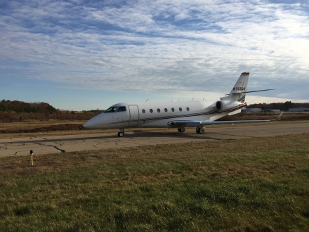 A Gulfstream G200 taxiing out for departure on Taxiway Alpha during our survey walk.