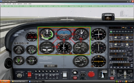 Here is a picture of basic 6-pack in FSX. All the instruments work exactly the same way as a real airplane.