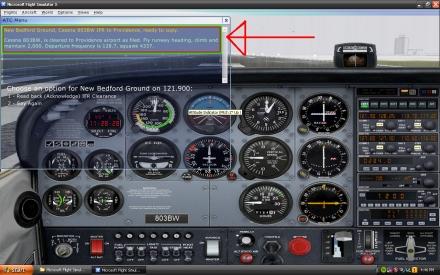 Looking at Flight Simulators ATC translucent window.