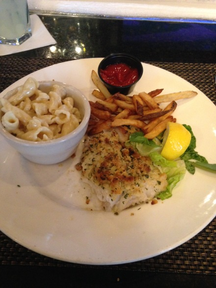 Baked Haddock with homemade mac n cheese and fries