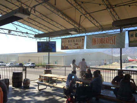 The covered outdoor porch, complete with misters and an airport backdrop is a great compliment to the facility!