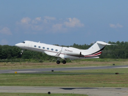 A Gulfstream IV just after takeoff from Runway 32 at EWB. (8/27)