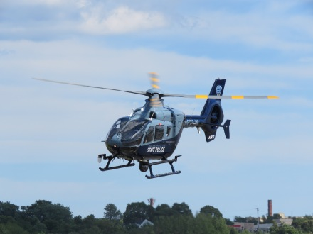 A Massachusetts State Police helicopter, just after departing from EWB! (8/27)